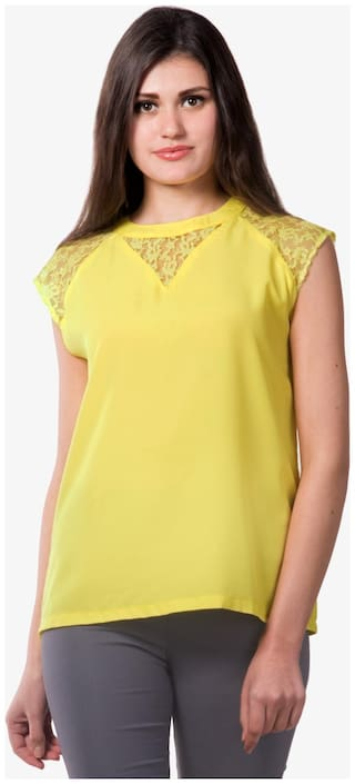 Miss Chase Women Solid Regular top - Yellow