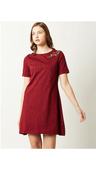 Solid Sleeve Chase Embroidered Dress Line Floral Women's Short Maroon Mini Neck A Round Miss 0wdYRqw