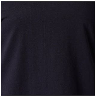 Miss Chase Women's Navy Blue Criss Cross V Neck Full Sleeve Solid Top