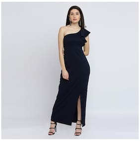 Miss Chase Women's Navy Blue Solid One Shoulder Sleeveless Ruffled Maxi Dress