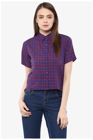 Miss Chase Women's Blue and Red Collar Neck Short Sleeves Checks Printed Crop Shirt Top