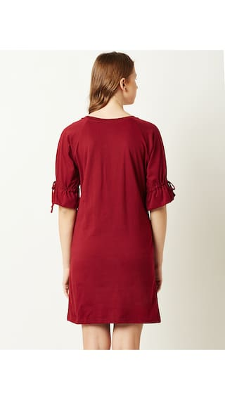 Dress Miss Shift Women's Half Maroon Chase Round Neck Sleeves x1wH6q8f