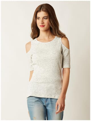 Miss Chase Women Polyester Striped - A-line top White