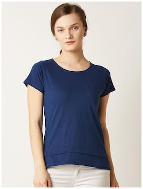 Miss Chase Women's Navy Blue Round Neck Short Sleeve Plain Solid Layered Top
