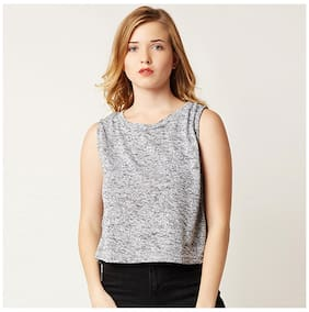 Miss Chase Women's Grey Round Neck Sleeveless Solid Crop Top