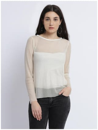Miss Chase Women Solid A-line top - White