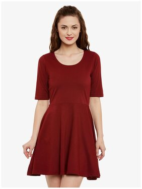 Miss Chase Women's Maroon Solid Round Neck Half Sleeve Mini Skater Dress