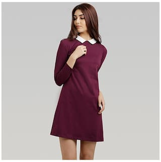 ac483770ee Miss Chase Women's Magenta Collar Neck Full Sleeve Solid Knee-Long Shift  Dress