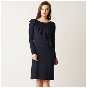 Miss Chase Women's Navy Blue Round Neck Full Sleeve Solid Knee-Length Ruffled Shift Dress