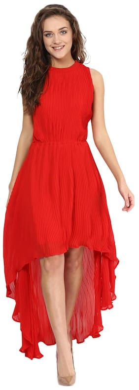 36583a377c2 Miss Chase Women s Red Round Neck Sleeveless High Low Asymmetric Dress