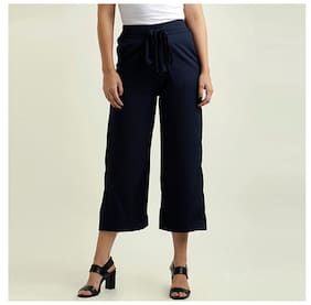 Miss Chase Women's Navy Blue Solid Straight Fit Belted Culottes