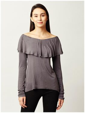 Miss Chase Women's Grey Boat Neck Full Sleeves Solid Ruffled Top