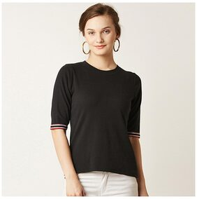 Miss Chase Women's Black Round Neck Half Sleeves Solid Basic Top