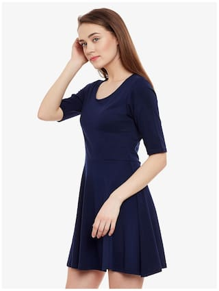 Blue Mini Skater Miss Solid Half Sleeve Women's Round Neck Navy Chase Dress ttvwFOqxZz