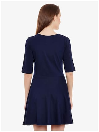 Blue Round Chase Dress Navy Sleeve Skater Neck Miss Women's Mini Half Solid BRtqxqXw