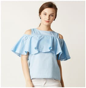 Miss Chase Women's Light Blue Round Neck Half Sleeves Ruffled Cold Shoulder Top