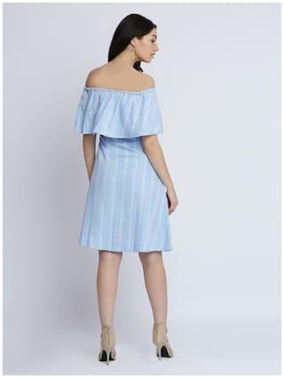 Dress Style Bardot shoulder Women's Miss Multicoloured Checkered Ruffled Sleeveless Mini Off Chase wPROvxzRqA