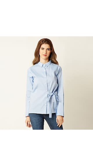 Miss Chase Women's Light Blue Round Neck Full Sleeve Solid Shirt