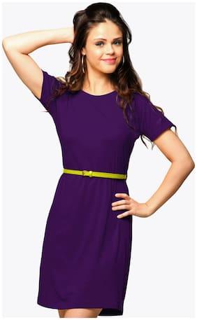 Miss Chase Women's Purple Round Neck Short Sleeves T-Shirt Dress