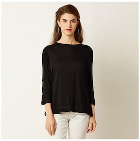 Miss Chase Women's Black Round Neck 3/4 Sleeve Solid Cut Out Top