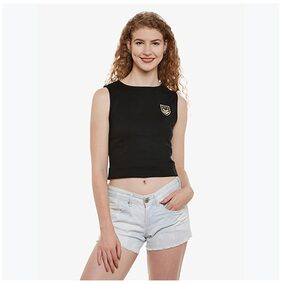 Miss Chase Women's Black Round Neck Sleeveless Solid Patch-Work Crop Top