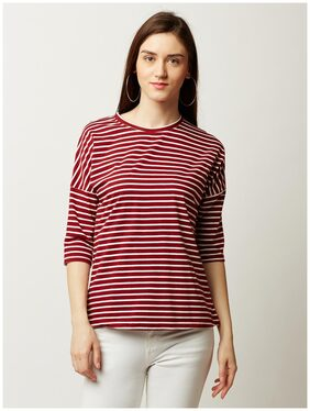 Miss Chase Women's Maroon and White Round Neck 3/4 Sleeve Striped Top