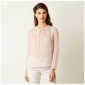 Miss Chase Women's Pink Round Neck Full Sleeve Solid Tassel Top