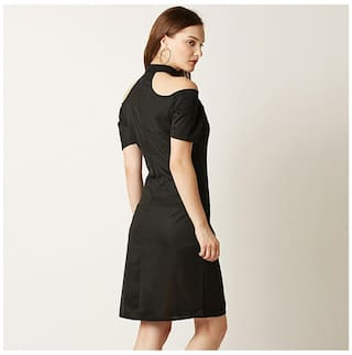 Sleeves Bodycon Black Choker Chase Mini Women's Solid Dress Miss Neck Half nzwaXqnxZ