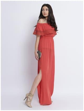 Style Orange Maxi Chase Miss Sleeveless Off Women's Shoulder Bardot Layered Solid Dress 7zxxqgwvEF