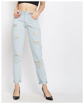 Miss Chase Women's Light Blue Boyfriend Fit Mid Rise Regular Length Ripped Denim Jeans