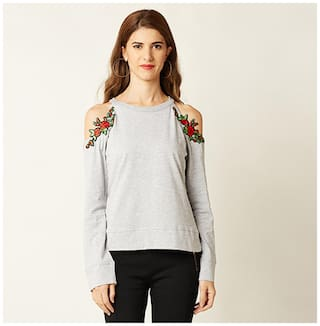 Miss Chase Women's Grey Solid Round Neck Full Sleeve Embroidered Cold Shoulder Top