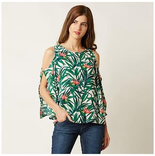 Miss Chase Women's Multicoloured Round Neck 3/4 Sleeve Printed Cold Shoulder Cut-Out Top