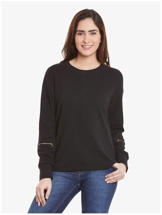 Miss Chase Women Cotton Solid - Regular Top Black