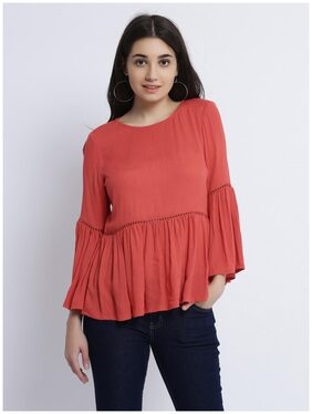 Miss Chase Women Solid A-line top - Orange