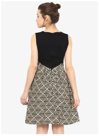 Round Neck Gold Women's and Miss Pleated Dress Black Chase Skater Print Sleeveless Abstract FTqZXOa