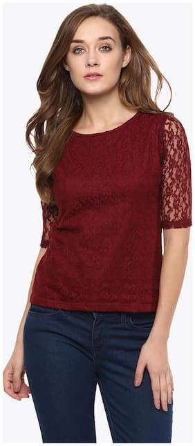 Miss Chase Women's Maroon Round Neck Half Sleeves Basic Lace Crop Top