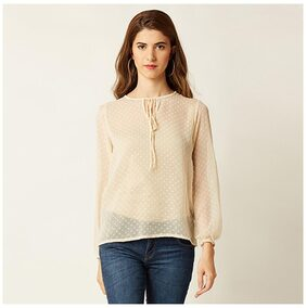 Miss Chase Women's Beige Round Neck Full Sleeve Solid Tassel Top
