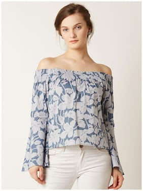 Miss Chase Women's Blue And White Cotton Full Sleeve Floral Bardot Style Striped Off Shoulder Top