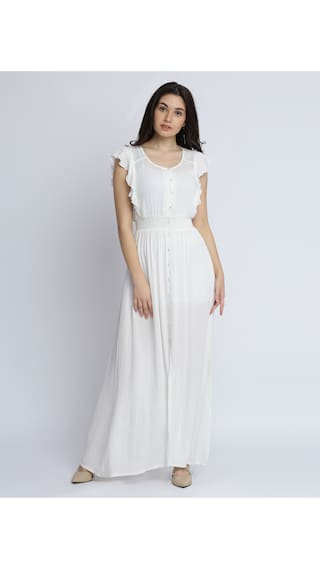 Solid Round Dress Chase Buttoned Maxi Sleeveless Miss Neck Ruffled White Flowy Women's gYZxB7q