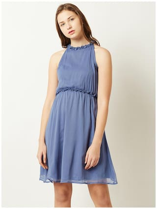 Solid Knee Gathered Skater Long Round Chase Dress Blue Neck Ruffled Miss Sleeveless Women's nqYz8w8P1