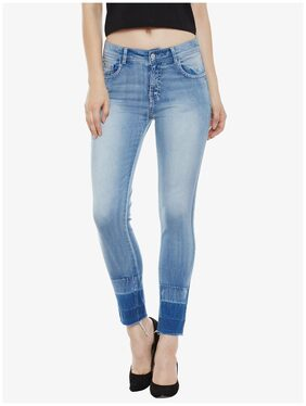 Miss Chase Women Slim Fit High Rise Solid Jeans - Blue