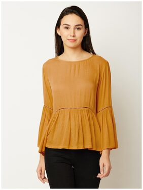 Miss Chase Women's Mustard Yellow Round Neck Full Sleeve Solid Gathered Ruffled Panelled Top