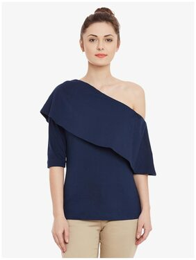 Miss Chase Women Cotton Solid - Regular Top Blue