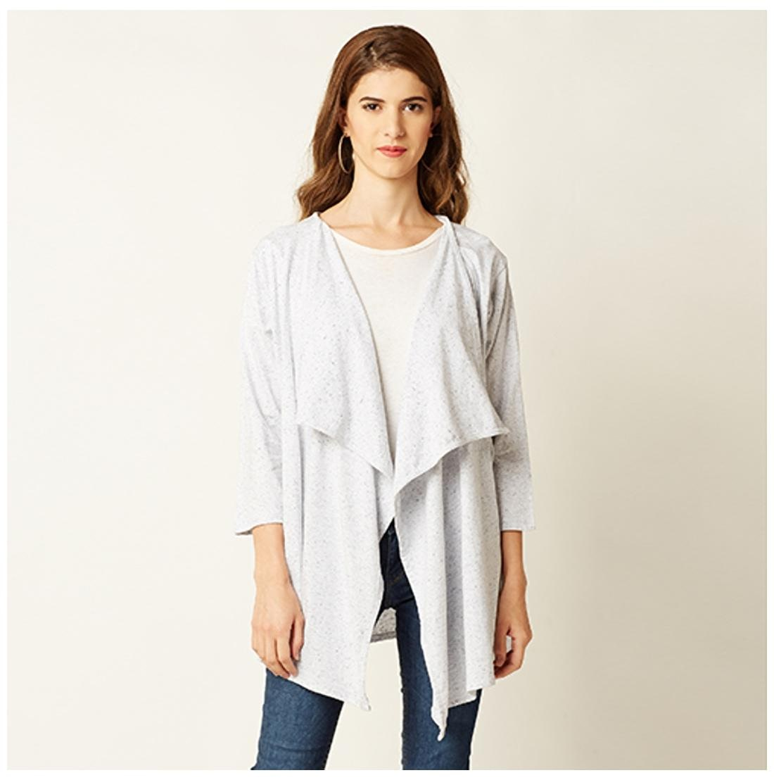 6875a2b45c7 https://assetscdn1.paytm.com/images/catalog/product/. Miss Chase Women's  Grey Cotton Open Front 3/4 Sleeve Solid Asymmetrical Hemline Waterfall Shrug