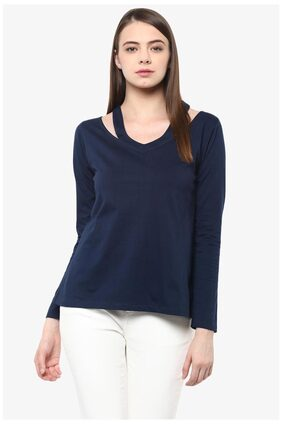 Miss Chase Women's Blue V-Neck Full Sleeves Solid CutOut Top