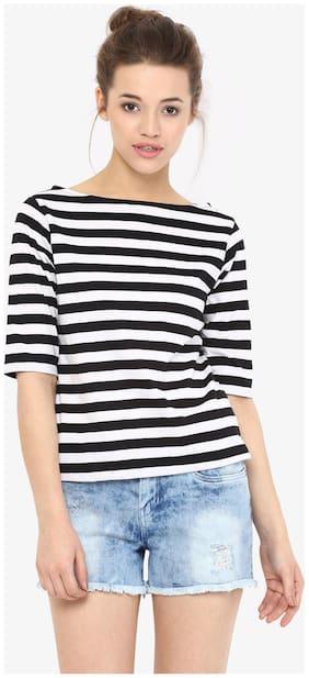 Women Striped Boat Neck Top