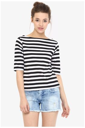 Miss Chase Women's Black and White Boat Neck Half Sleeves Solid Striped Top