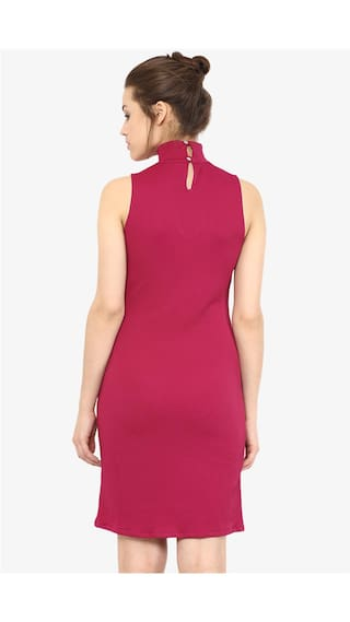 Pink Solid Out Sleeveless Neck Chase Dress High Dark Miss Bodycon Women's Cut Zq0wtqB