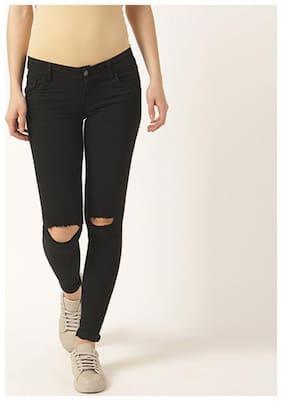 Miss Chase Women's Black Slim Fit High Rise Regular Length Denim Jeans