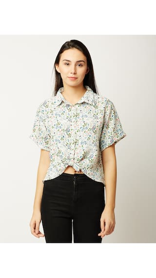 Miss Chase Women's Multicolored Round Neck Short Sleeve Printed High Low Buttoned Knotted Crop Shirt